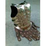 ANTIQUE BRASS MUSCLE ARMOR CUIRASS WITH BROWN LEATHER BELT REPLICA ARMORY COSTUME