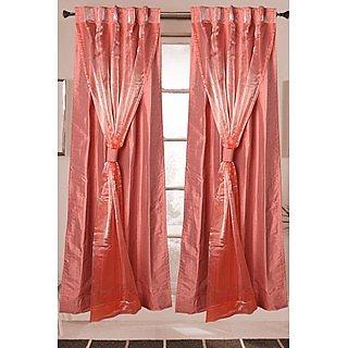 Just Linen Light Pink Poly Dupion 2 in 1 Door Curtain