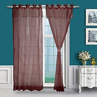 Just Linen Pair of Two Tone Red Eyelet Double Layered Sheer Curtains with Skirt