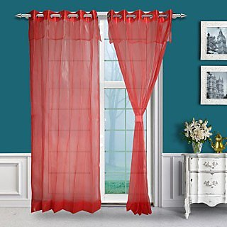 Just Linen Pair of Hot Pink Two Tone Eyelet Double Layered Sheer Curtains with Skirt