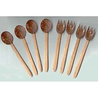 Exotic Coconut Shell Carved Fork And Spoon Set Of 8 Pieces