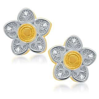 Sukkhi Sleek Gold and Rhodium Plated Micro Pave CZ Earrings