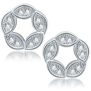 Sukkhi Fabulous Rhodium Plated Micro Pave CZ Earrings