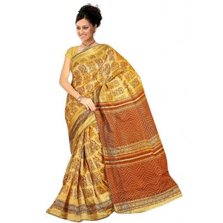 Vardhaman Chettinad Cotton Printed Golden Color Saree With Blouse