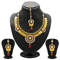 Sukkhi Estonish Gold Plated  Temple Jewellery Coin Necklace Set for Women