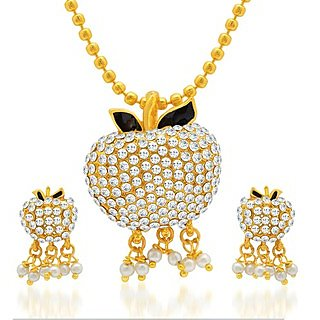 Sukkhi Dazzling Gold Plated AD Pendant Set for Women