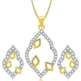 Sukkhi Glittery Gold and Rhodium Plated CZ Pendant Set for Women