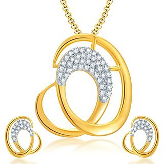 Sukkhi Fascinating Gold and Rhodium Plated CZ Pendant Set for Women
