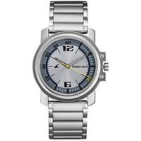 Fastrack Round Dial Silver Metal Strap Mens Watch