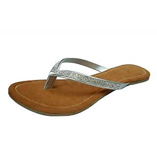 cobblerone silver flat sandals