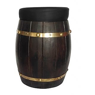 MAVI DHOLUK SHAPE POUFFE CUM STOOL WITH CUSHION-BLACK-MDL-205
