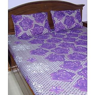 Looms Of India Purple Floral Print Double Bed Sheet & 2 Pillow Covers