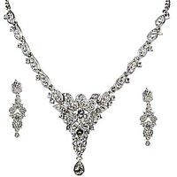 Kriaa Exclusive Design Rhodium Necklace Set - 2101505