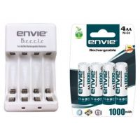 Combo Envie Beetle Charger with Envie 4xAA Ni-Cd 1000 Mah Batteries