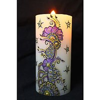 Beautiful Big Hand-painted Henna Candle With Embellishments - Art Decor