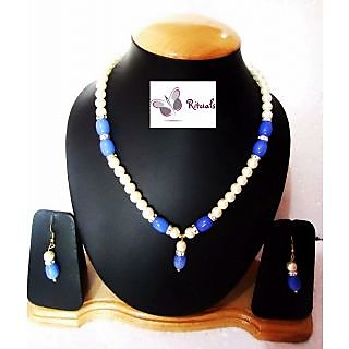 FASHION  FAUX PEARL AND CZ DIAMONDS NECKLACE SET