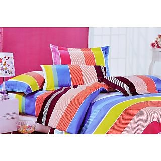 Valtellina Multi Color Lineing Print Double Bed Sheet (TITA_D-028)