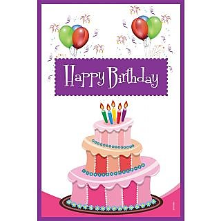 Poster - Happy Birthday With Cake And Balloon