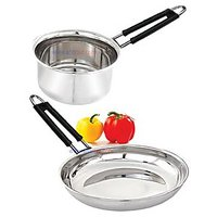 SHARIVZ COMBO FRY PAN & SAUCER - STAINLESS STEEL