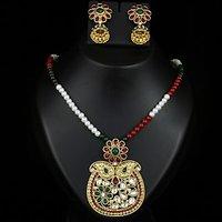 Kriaa Pearl Mala Pendant Set in Maroon & Green  -  2100107