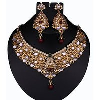 Vivaah Gold Plated Maroon & Green Kundan Pearl Necklace Set  -  2100205