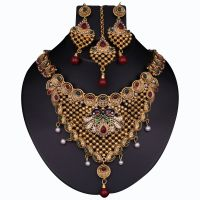 Kriaa Gold Plated Pecock Style Necklace Set With Maang Tikka  -  2100206
