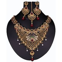 Kriaa Gold Plated Maroon Alloy Necklace Set For Women