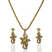 Kriaa Pretty Floral Design Pendant Set  -  2100509