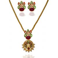Kriaa Pearl Gold Plated Pendant Set in Red & Green  -  2100510