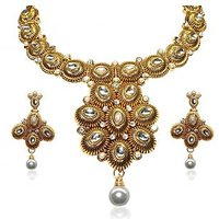 Kriaa Classy Design White Necklace Set  -  2100603