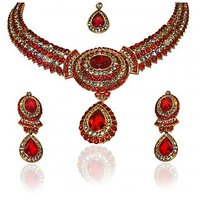 Kriaa Marvelous Design Red Necklace Set With Maang Tikka  -  2100605
