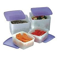 Tupperware Cool & Fresh Refrigerator Set Of 4 Boxes - 450 Ml And 700 Ml - 2 Each