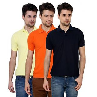 Grand Bear Navy Orange Lemon Poly Cotton Polo Neck Tshirts For Mens Pack Of 3