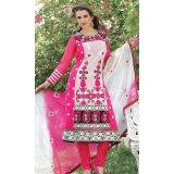Stylelok Pink And White Faux Georgette Unstitched Suit  With Matching Dupatta