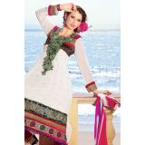 Stylelok White Faux Georgette Unstitched Suit  With Matching Dupatta