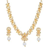 Kriaa White Alloy Gold Plated Necklace Set For Women