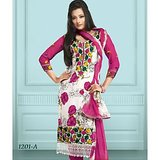 Stylelok Pink & Off White French Crepe Unstitched Suit  With Matching Dupatta
