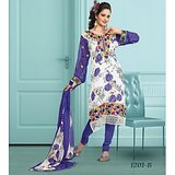 Stylelok Blue & Off White French Crepe Unstitched Suit  With Matching Dupatta