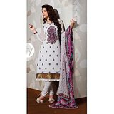 Stylelok Off White Crepe Silk Unstitched Suit  With Matching Dupatta
