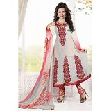 Stylelok Off White Franch Crape Unstitched Suit  With Matching Dupatta