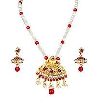 Kriaa Graceful Designer Red Pearl Pendant Set  -  2101706