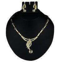 Kriaa Pretty Design Necklace Set in White  -  2102606