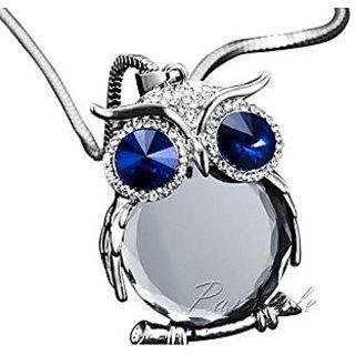GirlZ! Crystal Rhinestone Owl Long Pendant With Chain - Blue