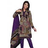 Salwar Studio Voilet & Fawn Unstitched Churidar Kameez With Dupatta (Design 1)