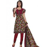 Salwar Studio Red & Fawn Unstitched Churidar Kameez With Dupatta