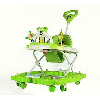 Panda Baby Walker cum Rocker - Height Adjustable, Musical, Push Handle (Green)