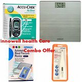 Home Health Care Device Combo Offer(accuchek Glucometer, Omron Weighing Scale, Omron Digital B.P Meter& Omron Digital Thermometer)