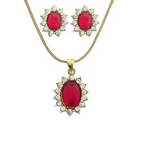 Dg Jewels Bollywood 24k Plated Gem Stone Pendant Set-CPS8048