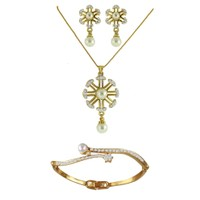 Dg Jewels 24k Gold and Silver Plated Bollywood Collection of  Elegant 1 Pendant Set and 1 Bracelet -DGPS  Combo 017