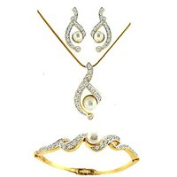 Dg Jewels 24k Gold and Silver Plated Bollywood Collection of  Elegant 1 Pendant Set and 1 Bracelet -DGPS  Combo 018